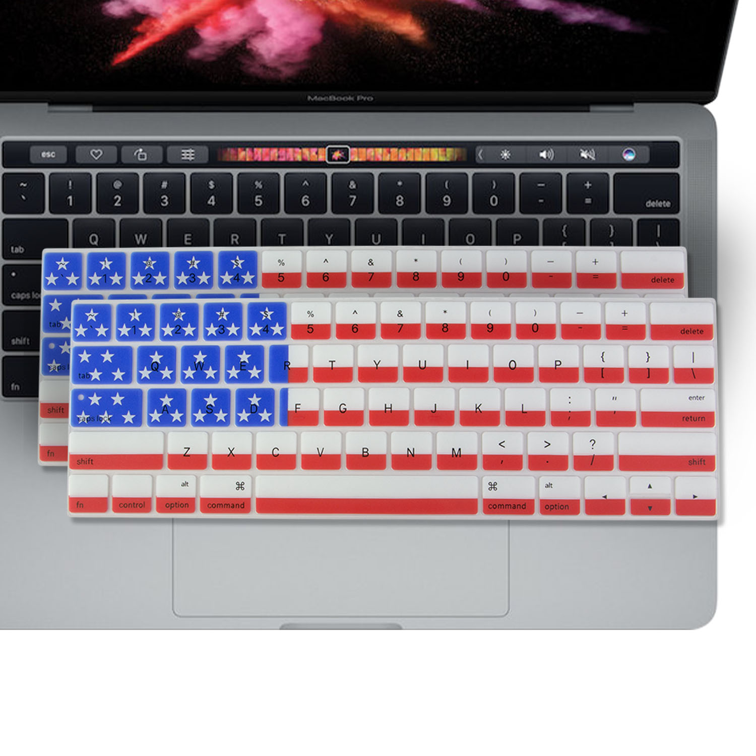 """2PK - SOJITEK Keyboard Cover for MacBook New Pro 13"""" 15"""" (A1706 A1707 A1708) with/without Touch Bar Released 2016 10 ) Silicone Keyboard Skin Protector - American Flag"""