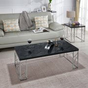 Furniture of America Candela Faux Marble Top Coffee Table, Black and Chrome