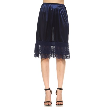 Lace Trim Half Slip (Women's Long Double Layered Lace Satin Skirt Extender Underskirt Half Slip)