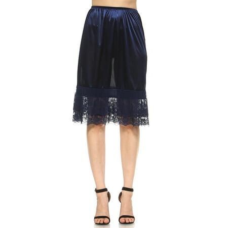 Short White Lace Petticoat (Women's Long Double Layered Lace Satin Skirt Extender Underskirt Half Slip)