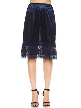 Women's Long Double Layered Lace Satin Skirt Extender Underskirt Half Slip