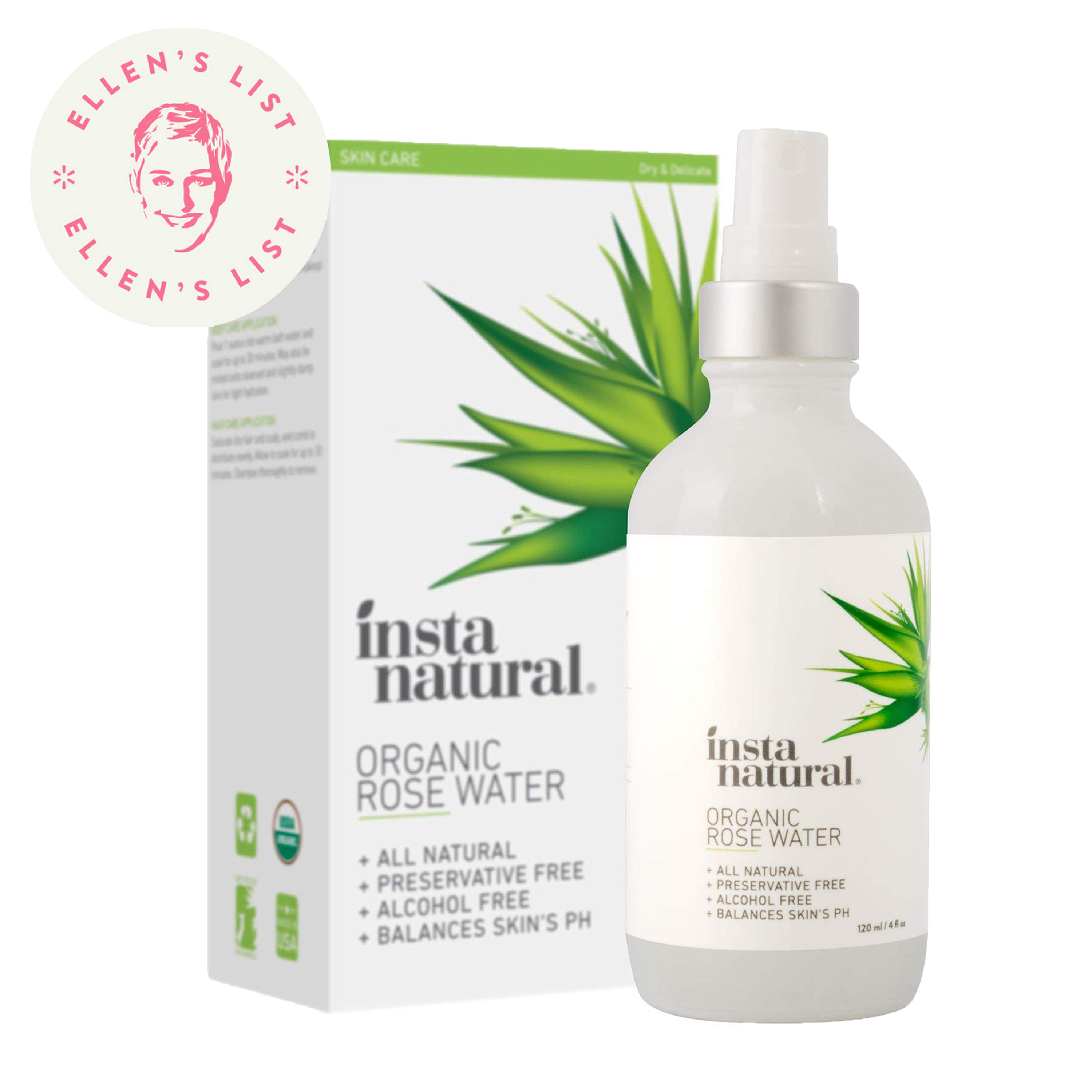 InstaNatural Organic Rose Water, Alcohol Free for Dry & Sensitive Skin, 4 oz