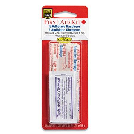 Lil' Drug Store Travel First Aid Kit 5 Adhesive Bandages, 2 Antibiotic Ointments (Antibiotics Kit)
