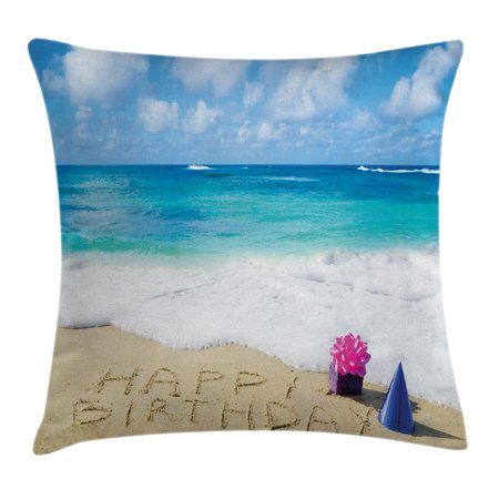 Birthday Decorations Throw Pillow Cushion Cover Happy On Sandy Beach With Party Hat Presents