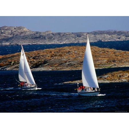 Sailboats Cruising in Bohuslan Archipelago, Mollosund, Vaster-Gotaland, Sweden Print Wall Art By Anders (Best Cruising Sailboat For Single Hand)