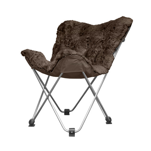 Cocoon Long Hair Faux Fur Butterfly Chair, Brown