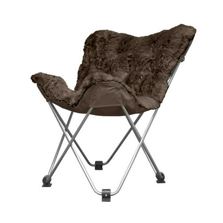 Amazing Details About Accent Chair Cocoon Long Hair Faux Fur Butterfly Seat Brown Metal Frame Home New Theyellowbook Wood Chair Design Ideas Theyellowbookinfo