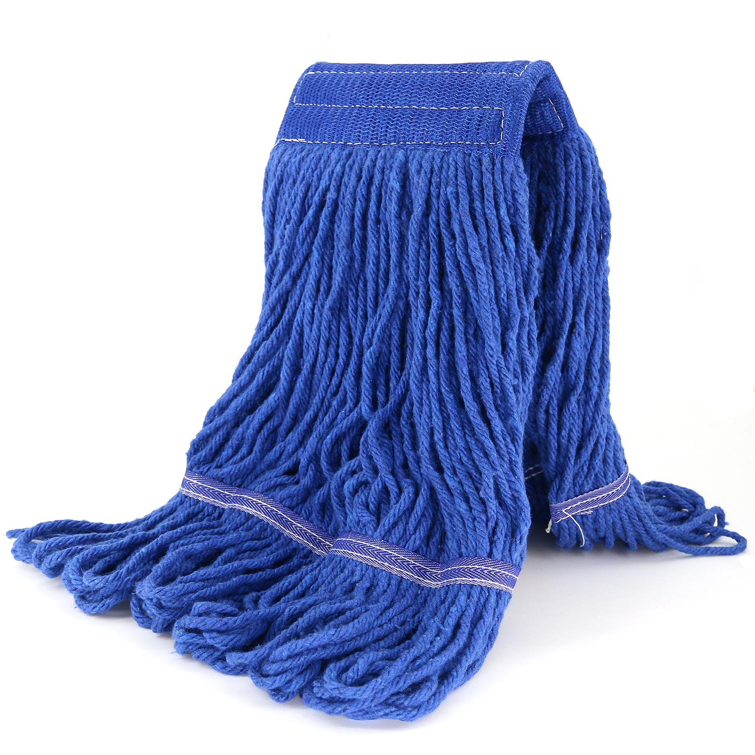 Bonison Commercial Use Wringer Style Replacement Mop Head For Clamp Mop With Looped Ends And Yarn Tailband, Heavy Duty And Long Lasting. (1, Blue)