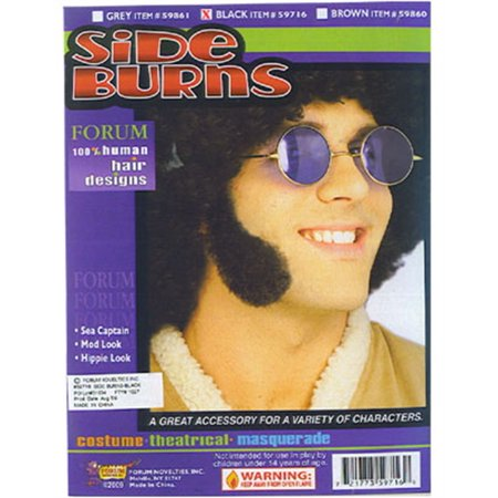 Deluxe Human Hair Black Cheesy 60s Costume Side Burns - Cheesy Couples Costumes