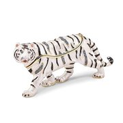 Mia Diamonds Bejeweled Mala White Tiger Trinket Decorative Jewelery Box - (L: 4in x W: 1in)