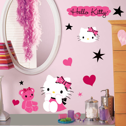 Precut Reusable Wall Furniture Stickers NEW Hello Kitty Room Appliques 30