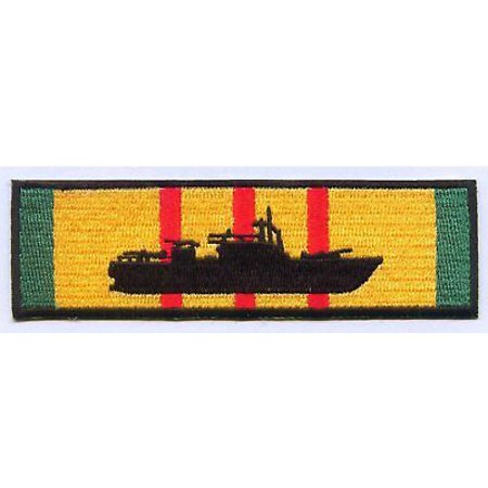 USN NAVY PBR PATROL BOAT RIVER SILHOUETTE ON VIETNAM SERVICE RIBBON PATCH - Pearl River Patch Halloween