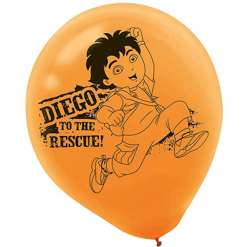 Diego's Biggest Rescue Balloons, Orange/Blue, 6-Pack