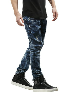 PI Mens Skinny Fit Stretch Jeans Distressed Ripped Denim Pants