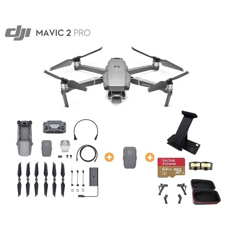 DJI Mavic 2 Pro Drone Quadcopter with 2X Optical Zoom, Extra Battery, Platinum Bundle, Ipad Holder, Extreme 64GB microSDXC Card, Drone Case, Landing Gear and Signal Booster