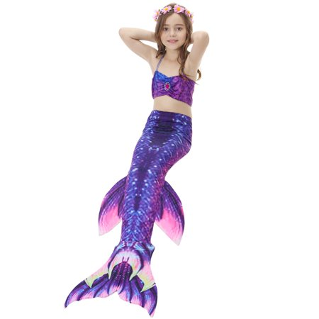 f941265c23143 ... Yosoo 3pcs Kids Girls Swimsuit Bikini Set with Mermaids Tail Sea-maid  Swimming Costumes