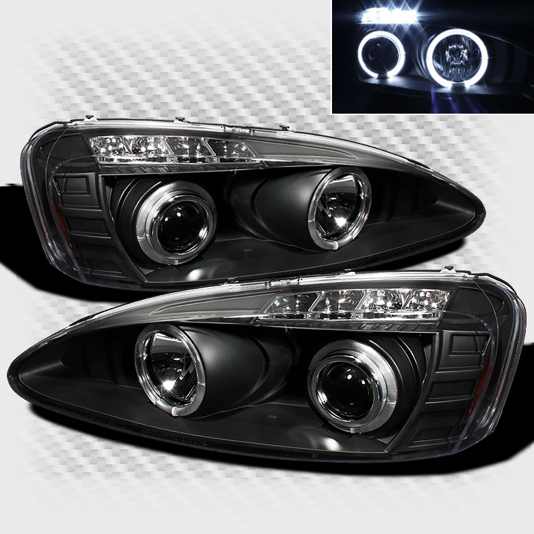 2004-2008 Pontiac Grand Prix Twin Halo LED Projector Headlights Black Head Lights Pair Left+Right 2005 2006 2007