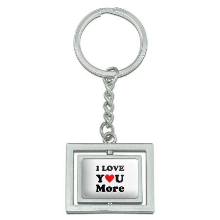 I Love You More with Heart Spinning Rectangle Chrome Plated Metal Keychain Key Chain