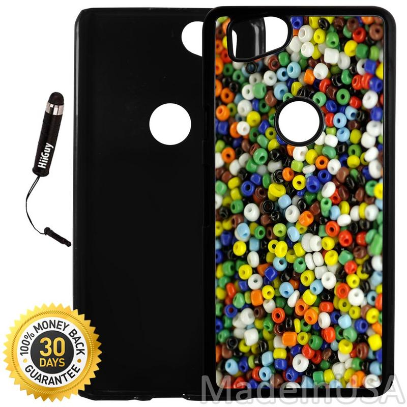 Custom Google Pixel 2 Case (Colorful Beads) Plastic Black Cover Ultra Slim | Lightweight | Includes Stylus Pen by Innosub