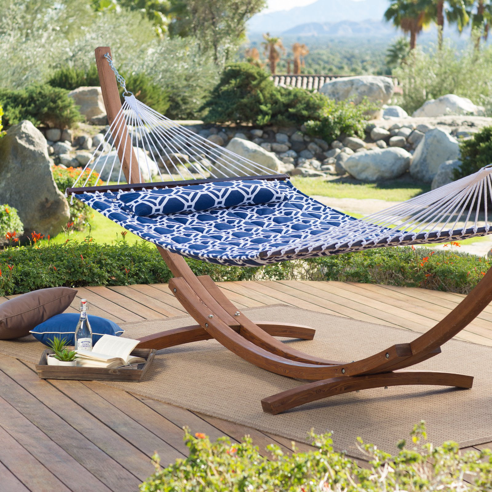 Coral Coast 13 ft. Hampton Lattice Quilted Hammock with Russian Pine Stand by