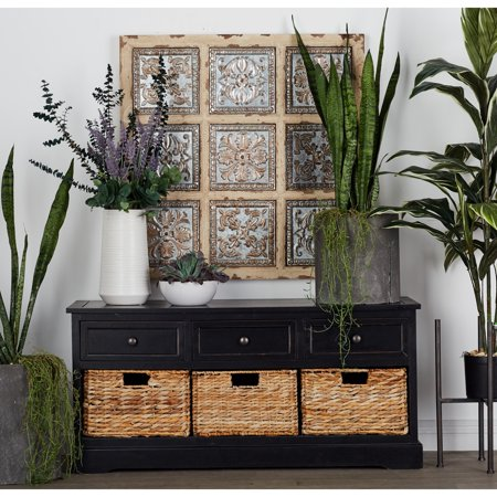 Decmode Farmhouse 20 X 42 Inch Wooden Chest With Wicker