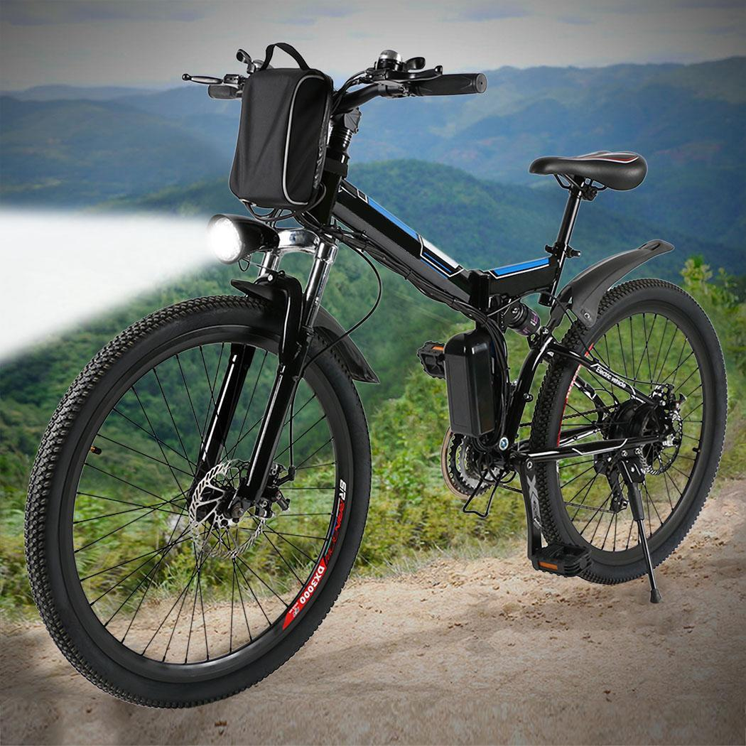 "CLEARANCE! ANCHEER 26"" E-bike Folding Electric Mountain Bike Power Plus Bicycle Damping with Lithium-Ion Battery ECBY"