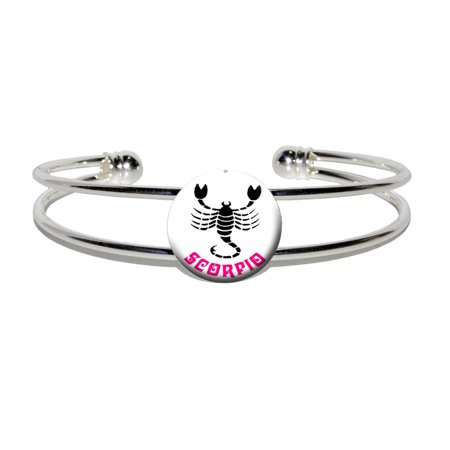 Scorpio The Scorpion Zodiac Horoscope Silver Plated Metal Cuff Bracelet
