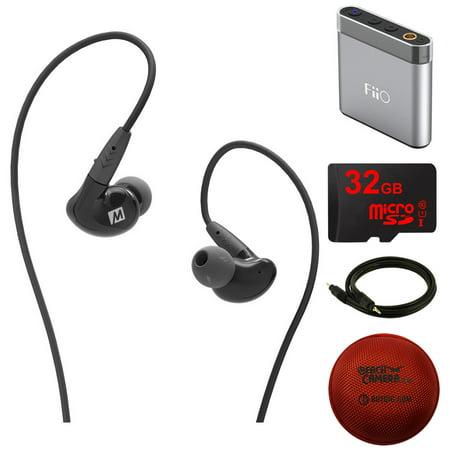 MEE Audio (EP-P2-BK-MEE) Pinnacle P2 Hi Fidelity Audiophile In-Ear Headphone w/ Detachable Cables (Black) w/ Amplifier Bundle Includes, FiiO Portable Headphone Amplifier, 32GB MicroSD Card +