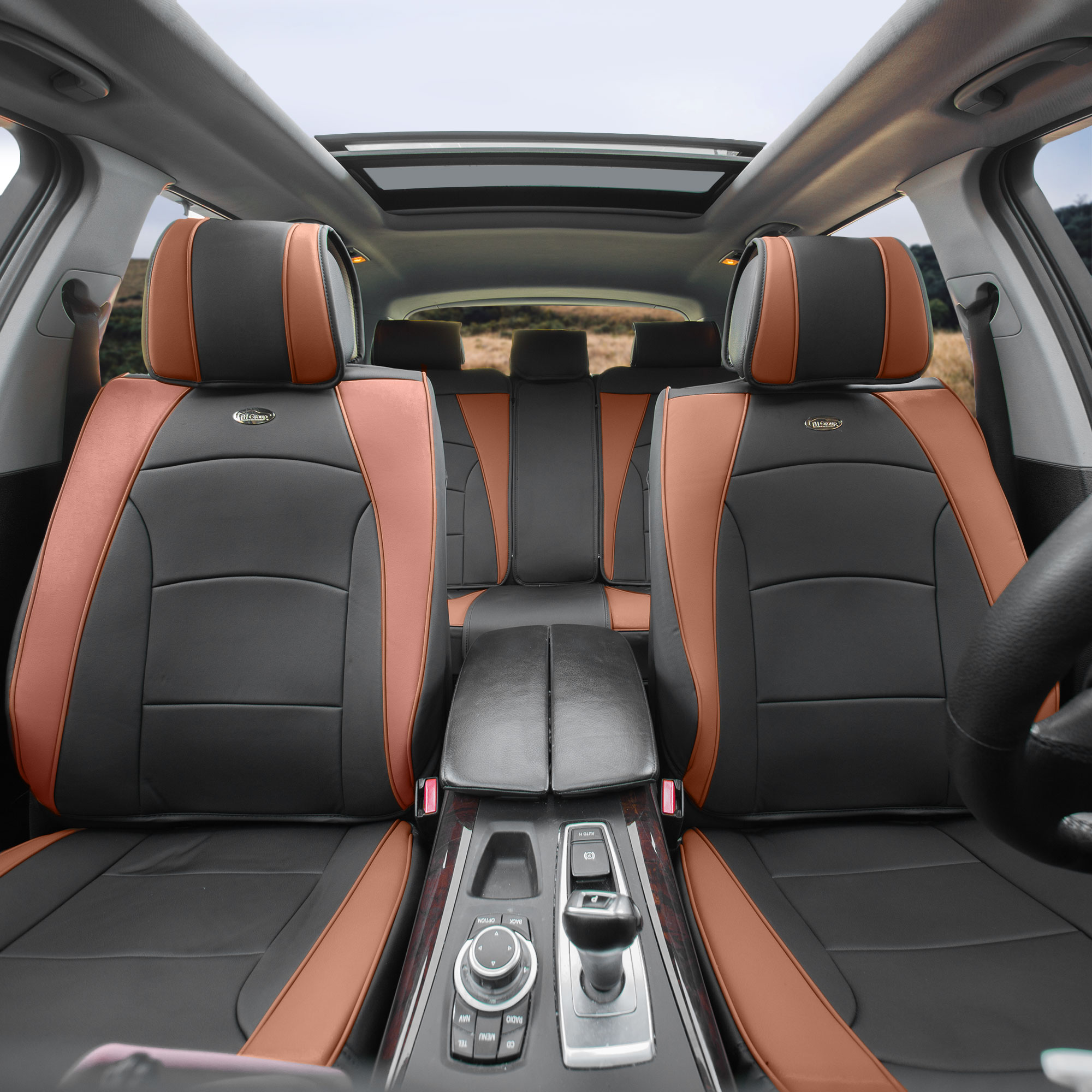 Car SUV Truck PU Leather Seat Cushion Covers 5 Seat Full Set Seats Black White with Black Dash Mat
