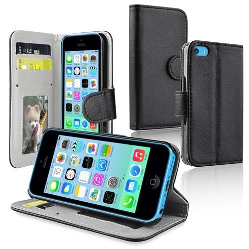 Insten Black Stand Wallet Leather Case with Card Holder for Apple iPhone 5C
