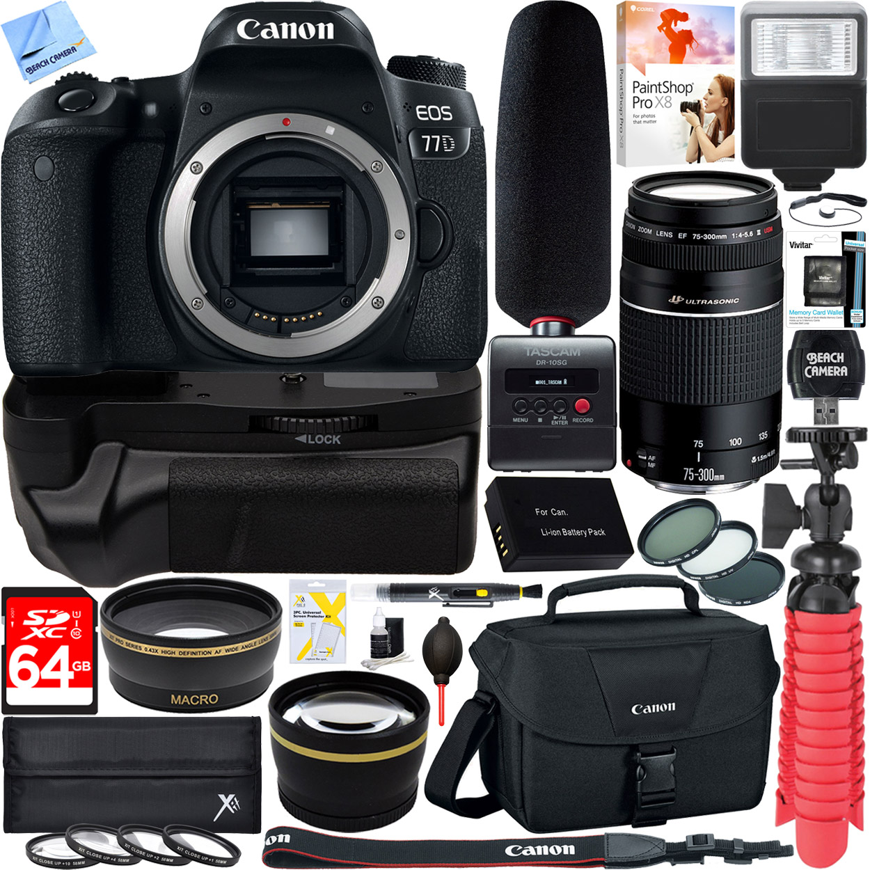 Canon EOS 77D Digital SLR Camera + EF 75-300mm F4-5.6 III Telephoto Zoom Lens Tascam 64GB Video Creator Kit by Canon