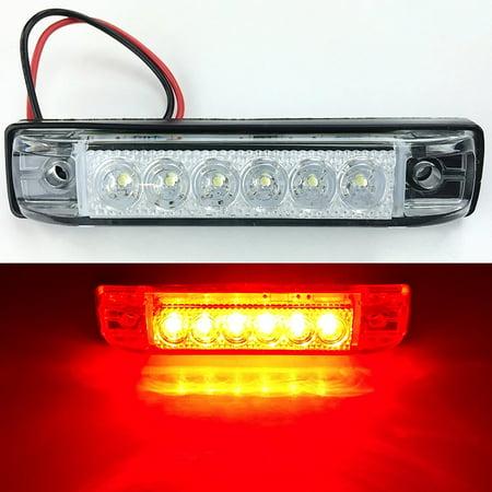 4 LONG HAUL BRIGHT CLEAR RED LED SLIM LINE LED 12V 12 VOLT UTILITY STRIP LIGHTS 6 LEDS 4