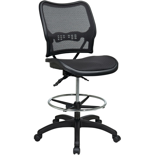 Office Star Space Seating Deluxe Ergonomic AirGrid Drafting Chair, Black