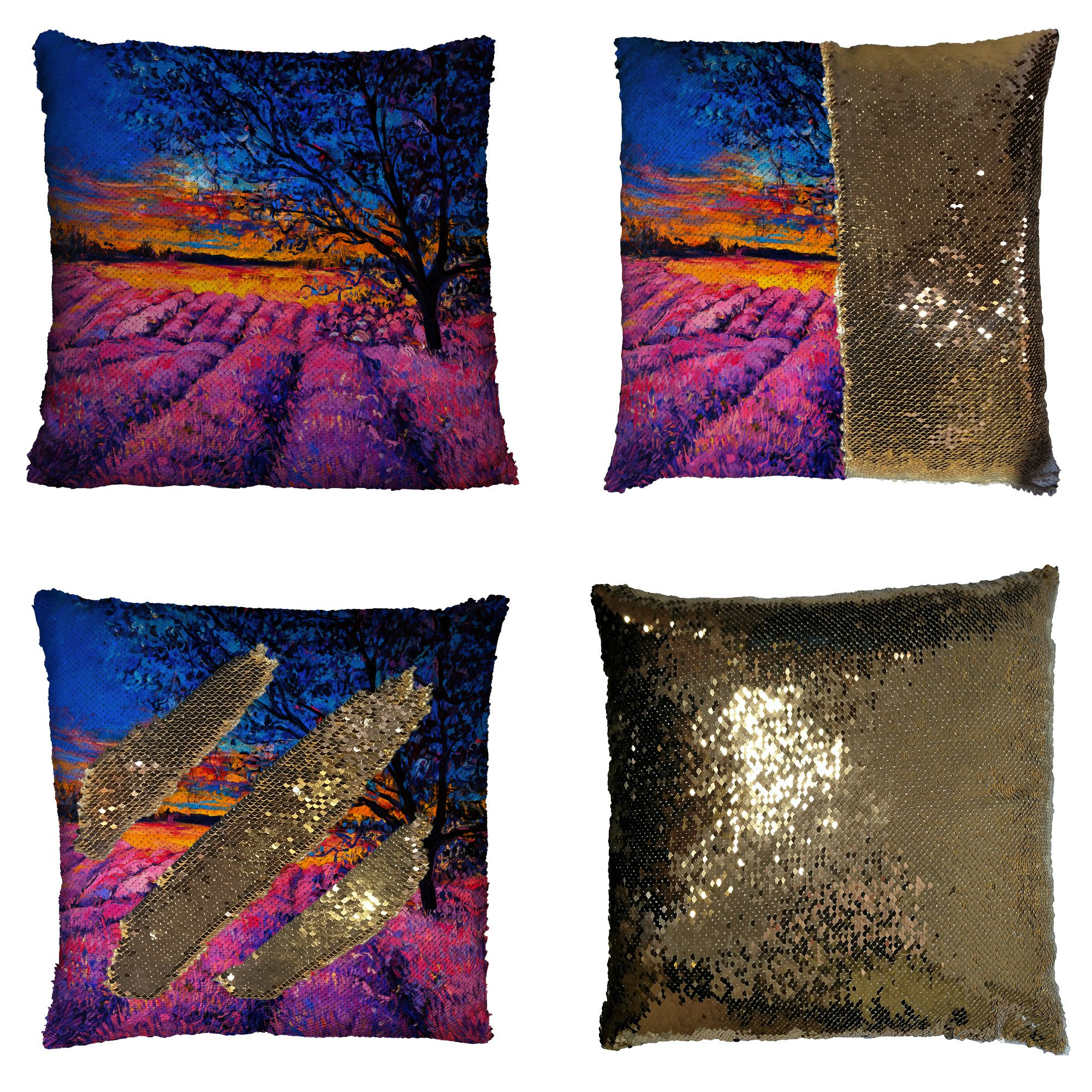 GCKG Beautiful Flower Floral Lavender Field Pillowcase, Oil Painting Tree of life Reversible Mermaid Sequin Pillow Case Home Decor Cushion Cover 16x16 inches
