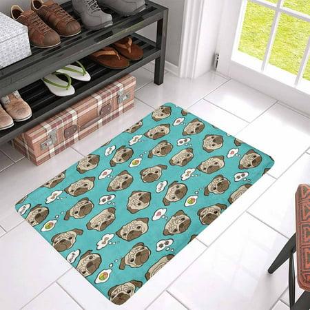 POP Pug Dog Front Door Mat 30x18 Inches Welcome Doormat for Home Indoor Entrance Kitchen Patio - image 1 of 3
