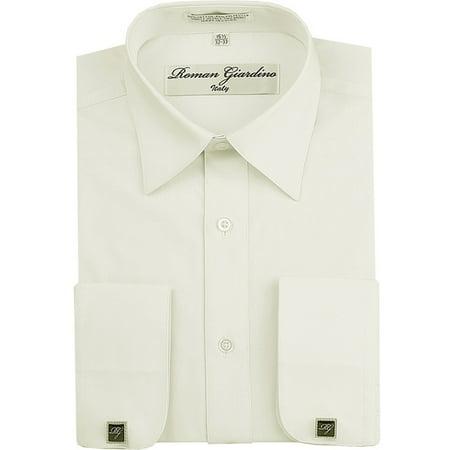 Roman Giardino Menâs Regular Fit Long Sleeve Button Dress Shirt Adjustable Cuffs W/ Free CuffLinks