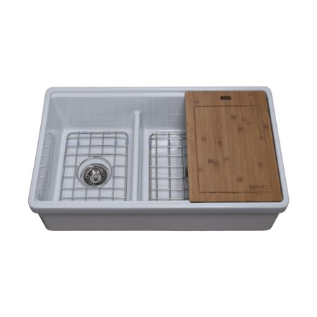 Reversible Fireclay Farmhouse Sink (Tosca Reversible Farmhouse Fireclay 33 in. 60/40 Double Bowl Kitchen Sink in White with Cutting-Board, Grid and)