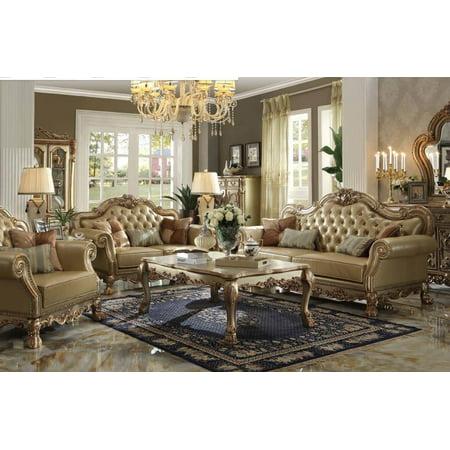 Bone Gold Patina Living Room Set 2Pcs Classic Acme Furniture 53160 Dresden
