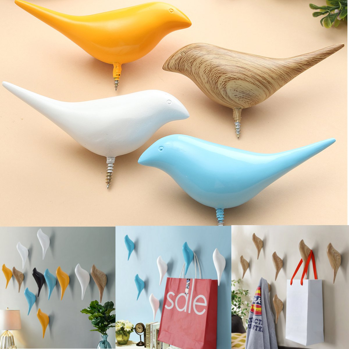 1PCS Birds Shaped Clothes Towel Hanger Wall Hook Rack Modern Hangers Art Home Decoration
