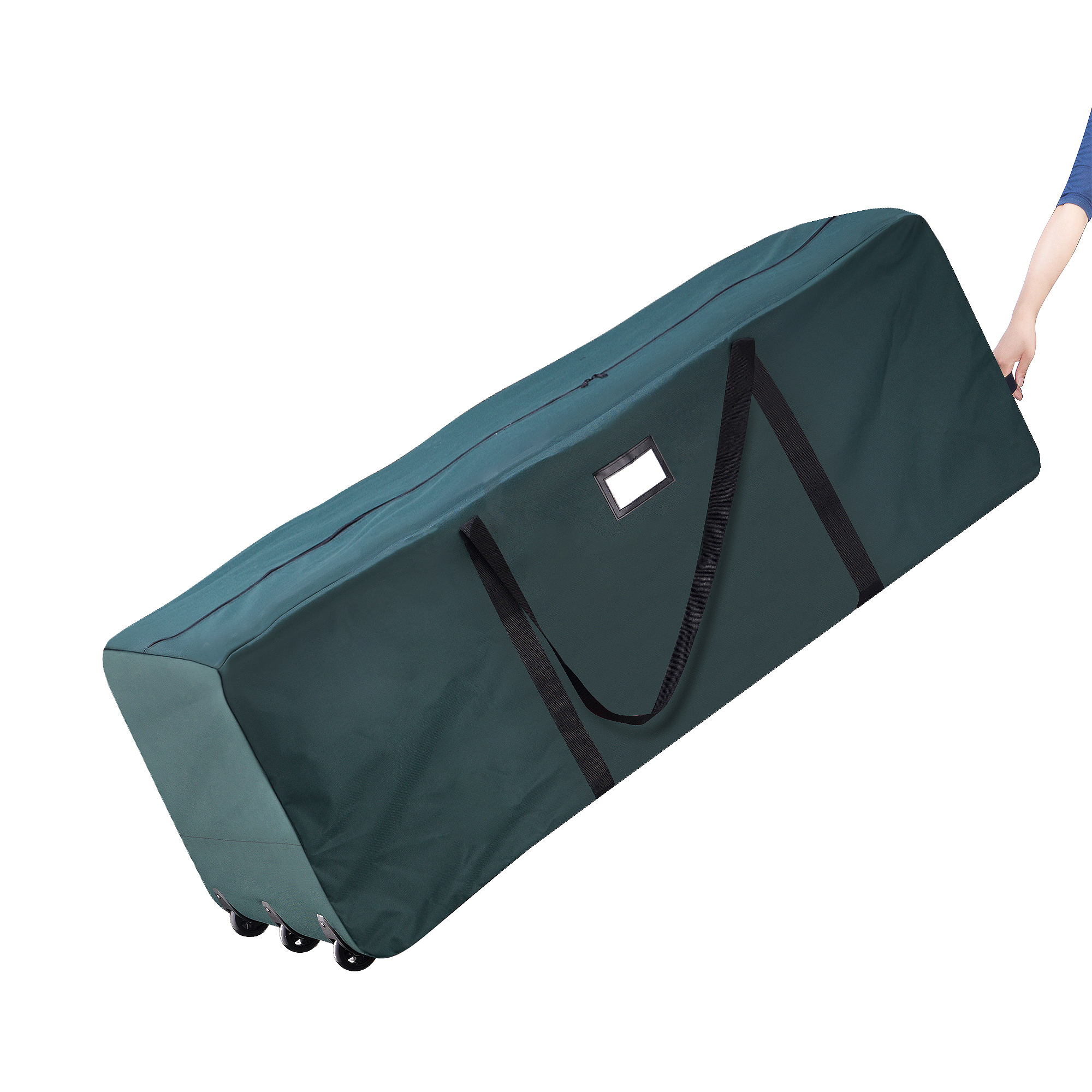 Elf Stor Premium Green Rolling Christmas Tree Storage Duffel Bag for 12 Ft Tree
