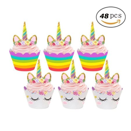 Unicorn Cupcake Decorations, Double Sided Toppers and Wrappers, Rainbow and Gold Glitter Decorations, Cute Girl's Birthday Party Supplies 48 - Halloween Cupcake Toppers Tesco