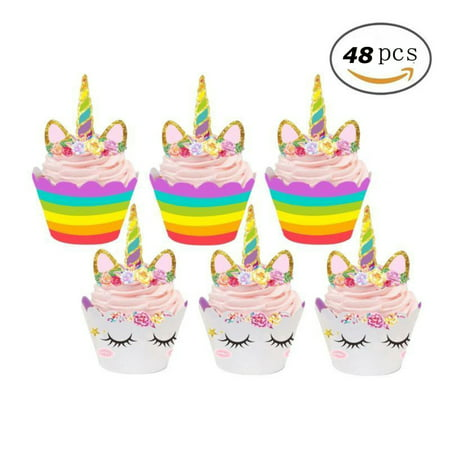 Unicorn Cupcake Decorations, Double Sided Toppers and Wrappers, Rainbow and Gold Glitter Decorations, Cute Girl's Birthday Party Supplies 48 pcs - Tiara Cupcake Toppers