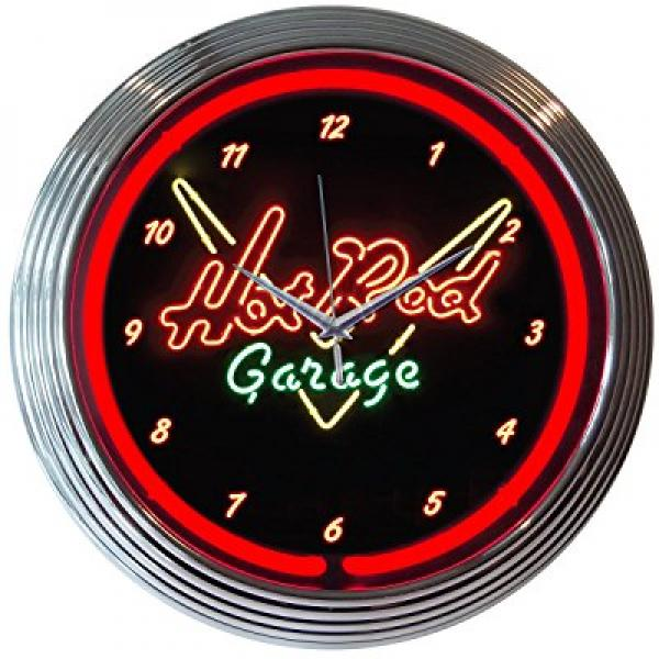 Neonetics Hot Rod Garage Neon Wall Clock, 15-Inch