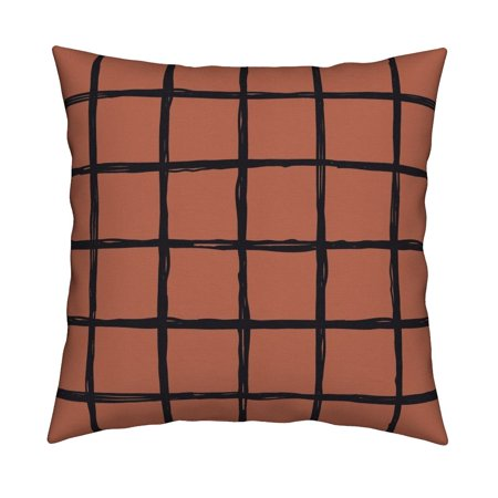 Check Check Geometric Copper Throw Pillow Cover w Optional Insert by Roostery