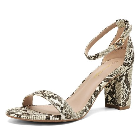 Dream Pairs Women's Fashion Ankle Strap Open Toe Shoes High Heel Sandals Chunky Dress Shoes Chunk Beige/Snake/Pu Size 6