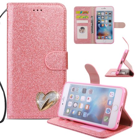 Bling Lanyards (iPhone 6S Plus Case Wallet, iPhone 6 Plus Case, Allytech Glitter Folio Kickstand with Wristlet Lanyard Shiny Sparkle Luxury Bling Card Slots Slim Cover for Apple iPhone 6 Plus/ 6S)