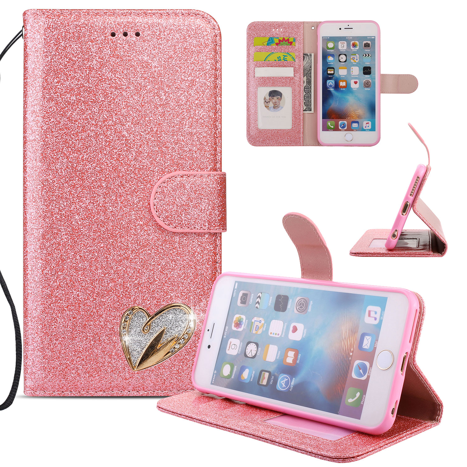 iPhone 6S Plus Case Wallet, iPhone 6 Plus Case, Allytech Glitter Folio Kickstand with Wristlet Lanyard Shiny Sparkle Luxury Bling Card Slots Slim Cover for Apple iPhone 6 Plus/ 6S Plus (Pink)