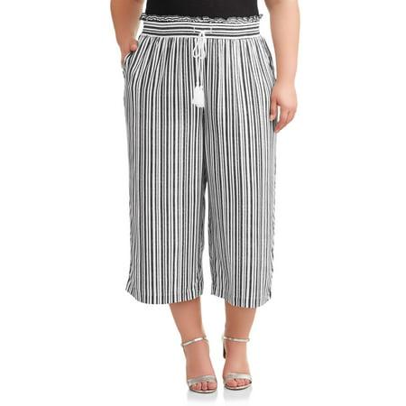 Terra & Sky Women's Plus Size Printed Wide Leg Cropped Pant Plus Size Wide Leg Drawstring Pant