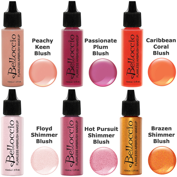 Belloccio Airbrush Makeup 6 Color BLUSH SHIMMER SHADES SET Face Highlighter Kit