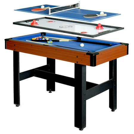 Hathaway Triad Multi Game Table with Pool, Glide Hockey, and Table Tennis, 48-in,